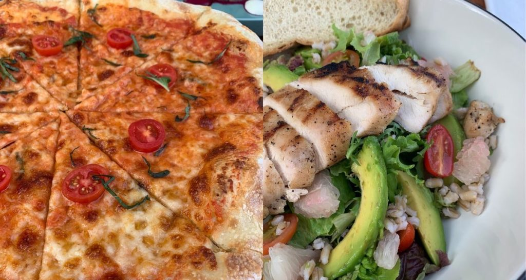 Classic options of Margherita Pizza and Roasted & Chicken Avocado Salad. Photos: Coconuts Bali