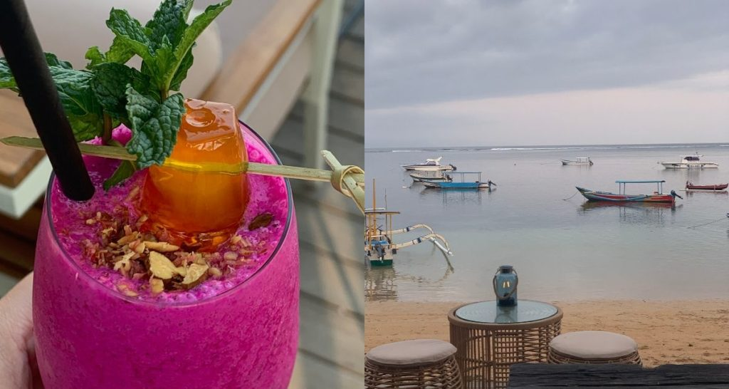 Bikini Smoothie and a view from Oomba's patio. Photos: Coconuts Bali