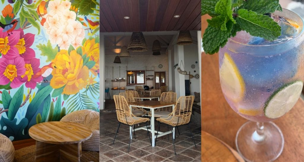 Left, a mural by Balinese illustrator Monez. Center, Indoor seating area at Oomba Beach House. Right, Kintamani Gin & Tonic. Photos: Oomba Beach House and Coconuts Bali