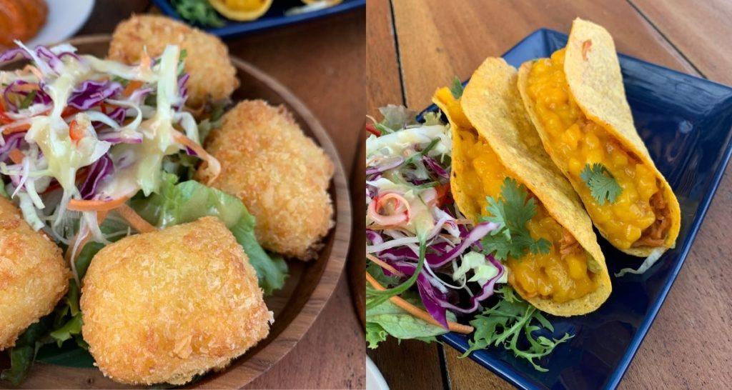 Molten Mozzarella Croquette and Mexican Pulled Pork Tacos. Photos: Coconuts Bali